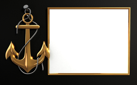 Mockup highly detailed gold anchor with rope isolated on black background. Template for Marine theme and greeting card. Laser cut paper lace frame. 3D rendering.