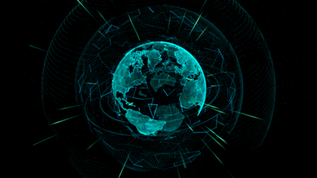 the pleiades: Glowing Earth globe depicted by thin lines and dots on a dark background. 3d rendering.