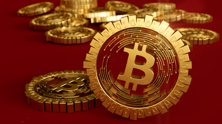 3D model of the bitcoin logo gold coins that scatter in different directions. Mining. 3D rendering. Stock Photo