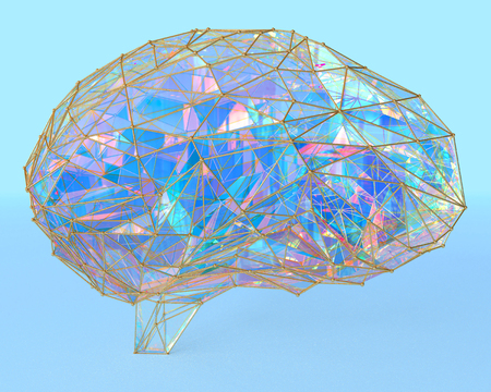 Polygonal brain shape of an artificial intelligence with lines and glowing dots and shadow over the dark white background. 3D rendering.