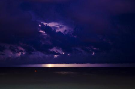 Lightning storm over Black sea near Anapa.