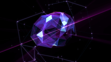 Polygonal brain shape of an artificial intelligence with lines and glowing dots and shadow over the dark blue background. 3D rendering. Stock Photo
