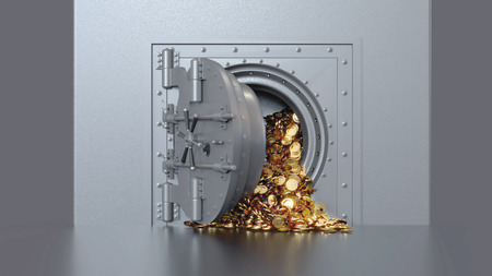 Bank vault door opening revealing a golden coin. 3d rendering.