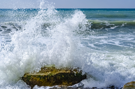 Splashing wave on the Black sea in the day. Stockfoto
