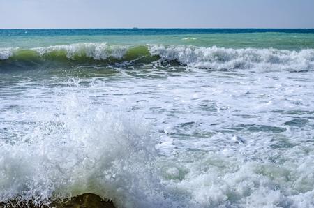 Splashing wave on the Black sea in the day. Reklamní fotografie