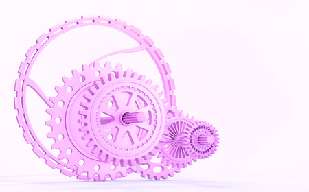 Rough, pink plastic gearsof different shapes and diameters. 3d rendering.