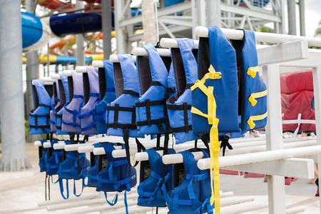 life jacket: Blue life jacket on the clothes line