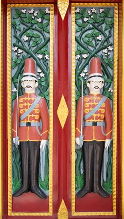 solder: Beautiful solder carving doors of Ratchabophit temple - Bangkok, Thailand Stock Photo