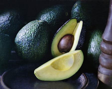 quartered: Avocado Stock Photo