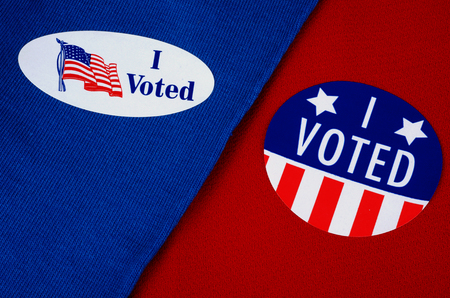I Voted Stickers On Red And Blue Backgrounds
