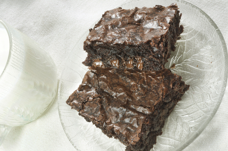 Brownies With Glass of Milk