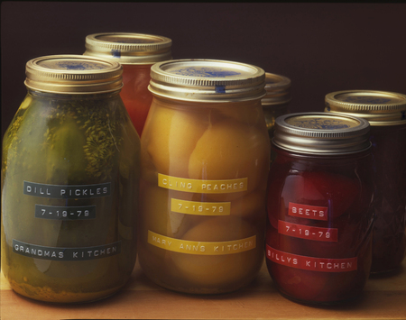 Home Canned Pickles, Peaches, Beets, With Labels