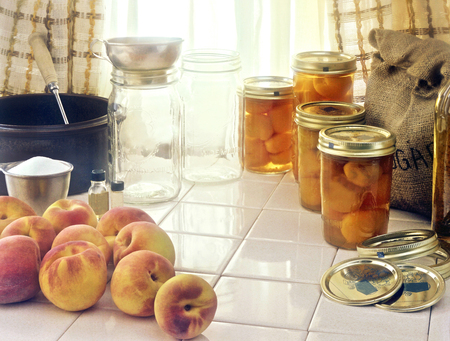 Freshly Picked Peaches, Mason Jars, Canning Ingredients
