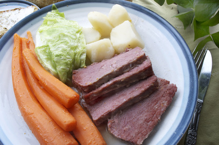 Corned Beef And Cabbage Dinner Plate, Soda Bread,Carrots, Potatoes