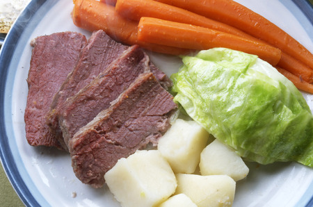 Corned Beef And Cabbage Dinner Plate, Carrots, Potatoes