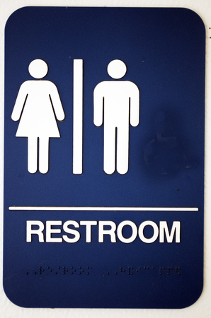 restroom or bathroom sign men and women symbols stock photo
