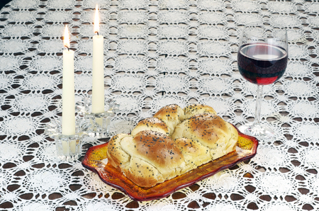 Shabbat Observance, Challah, Glass of Red Wine, Two Lit Candlesdles