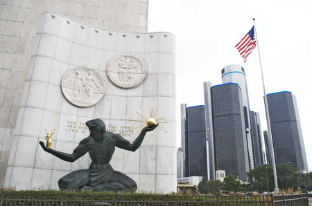 Spirit of Detroit Statue And GM Headquarters, Downtown Detroit