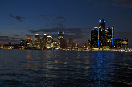 Detroit Panoramic View From Canada Night Shot April 2017 Stock Photo