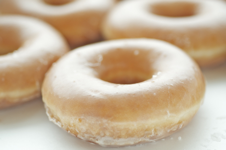 Basic Glazed Donuts Up Close Banco de Imagens
