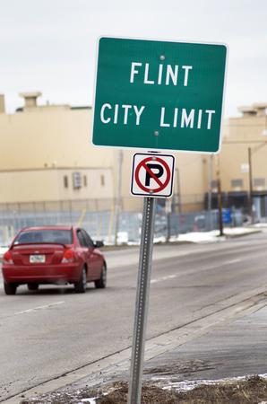 フリント市の標識、フリント、ミシガン州に入る