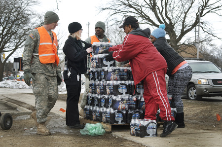 Flint, Michigan Bottled Water Distribution by National Guard, January 23, 2016, Flint Michigan USA Editorial