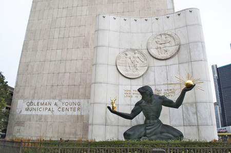 Spirit of Detroit Statue in Front of Coleman A. Young Municipal Building