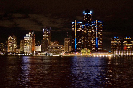Detroit Panoramic View From The Canadian Side of The Detroit River At Night 2017