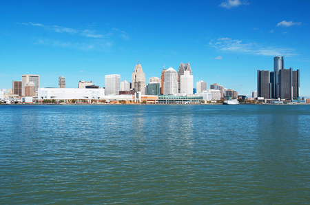 Detroit Panoramic View From The Canadian Side of The Detroit River Stok Fotoğraf