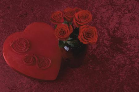 Valentine Heart, Red Roses on Red Crushed Velvet