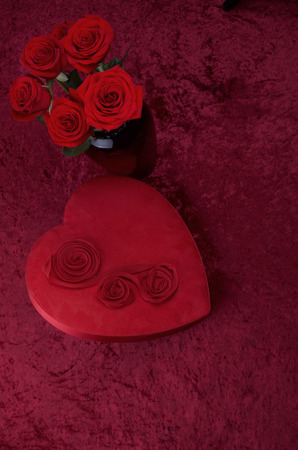 Valentine Heart, Red Roses on Red Crushed Velvet