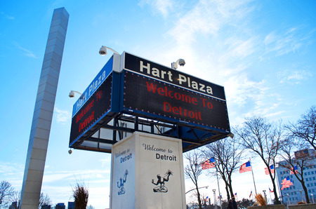 Welcome To Detroit Digital Marque and Sign in Hart Plaza, Downtown Detroit January 26, 2018 Editorial