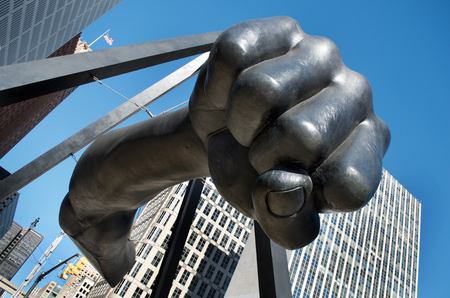 Joe Louis, The Fist, in Hart Plaza, Downtown Detroit,Michigan January, 2018