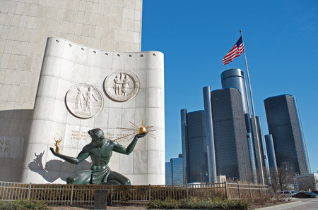 Spirit of Detroit Statue in Downtown Detroit with Renaissance Center, GM Headquarters, January 26,2018 Editorial