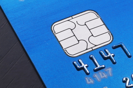 EMV Electronic Circuit Chip on Blue Credit Card