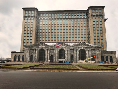 Detroit, Michigan USA, April 5, 2018, Michigan Central Station, MCS, Train Depot Detroit Daytime Editorial