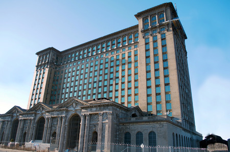 Detroit, Michigan USA, April 8, 2018, Michigan Central Station, MCS, Train Depot Detroit Daytime, Sunshine Editorial