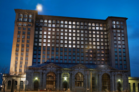 Detroit, Michigan USA, April 5, 2018, Michigan Central Station, MCS, Train Depot Detroit at Night, Lighted with Electricity Inside