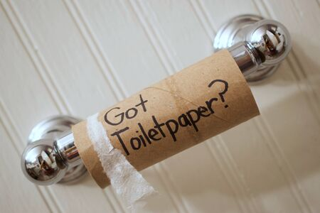 Toilet Paper Empty cardboard toilet paper roll on spool reading Stock Photo