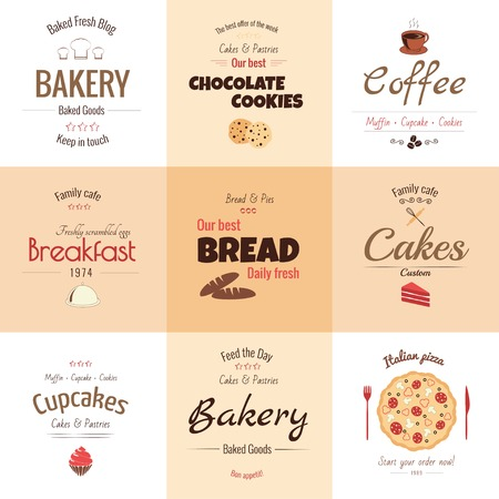 Set of 9 bakery labels, warm colors Vector