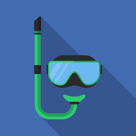 長い影を持つ平らなスキューバ ダイビングのマスク。ベクトルのアイコンの図モダンなデザイン