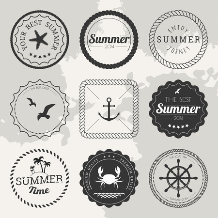 nautical: Set of 9 design summer elements, frames, borders isolated on white background