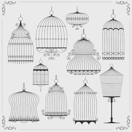 Set of silhouettes of birdcages. Vector illustration