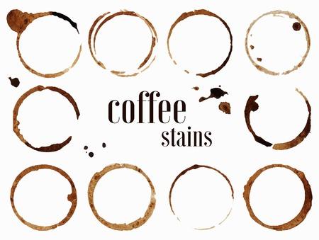 Koffievlekken. Vector illustratie geïsoleerd op een witte achtergrond Vector Illustratie