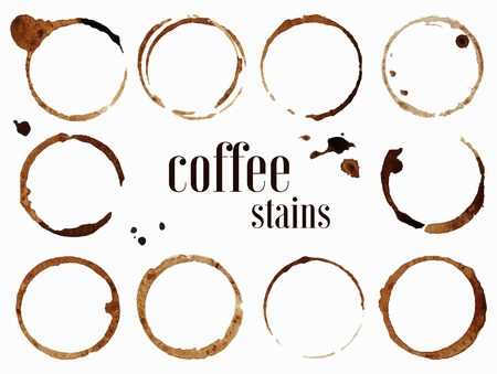Coffee stains. Vector illustration isolated on white background Vettoriali