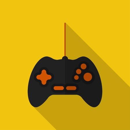 joypad: Gamepad plana con una larga sombra.