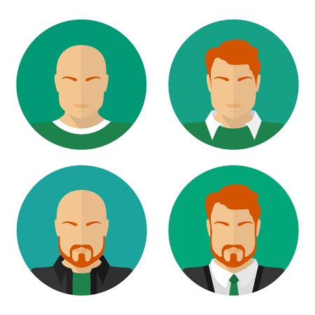 Flat male faces. Vector