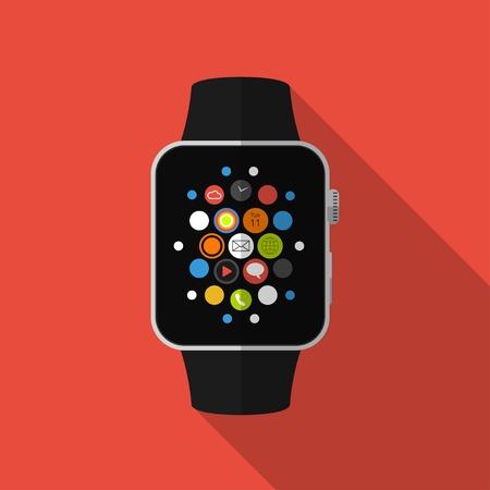 スマートな時計、アイコンで長い影とフラットのコンセプト  イラスト・ベクター素材