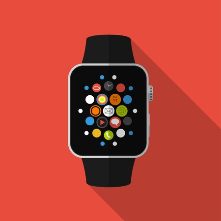 Smart watch with icons, flat concept with long shadow