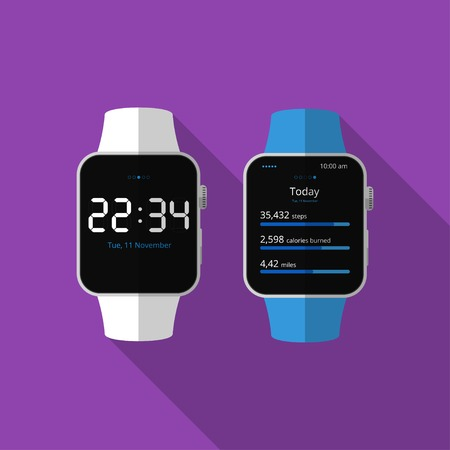 smartly: Flat smart watch, concept with long shadow.